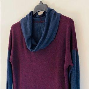 Three Dots Color Block Knit Cowl Neck Shirt